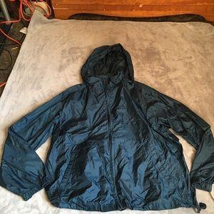 Eddie Bauer men's navy blue rain jacket size large